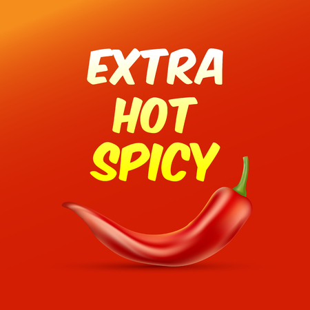 Extra Hot and Spicy Poster with a chili paper. Vector illustration.