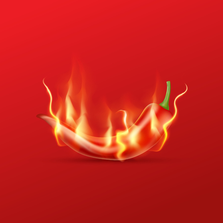 Red hot chili pepper with flame on a red background.