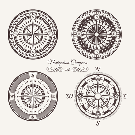 icons: Isolated vintage or old marine compass rose icons. Sea or ocean navigation. Retro cartography icon or traveler compass sign, wind rose icon set. Illustration