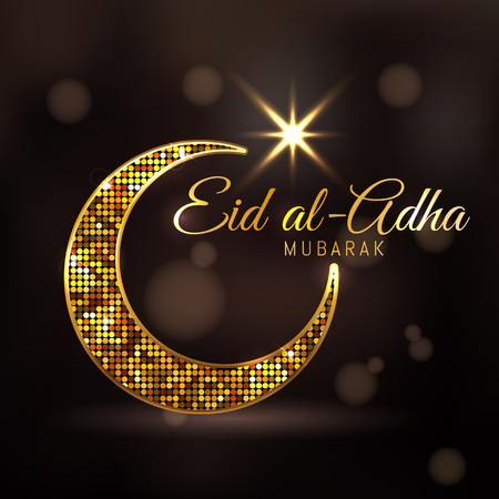 Eid-ul-adha mubarak (Feast of the Sacrifice) Golden dotted design decorated crescent moon and glowing Arabic Islamic calligraphy of text Eid Mubarak on brown background. Vettoriali