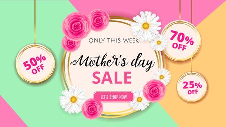 Mother's day verkoop achtergrond sjabloon met bloemen, rozen en camomiles voor banner, advertenties, flyers, uitnodiging, posters, brochure, korting, verkoop aanbiedingen.