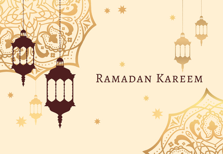 Ramadan Kareem celebrate greeting card or illustration with paper cutting style with arabic design patterns and lanterns, arabic lamp. Vector illustration. EPS 10.