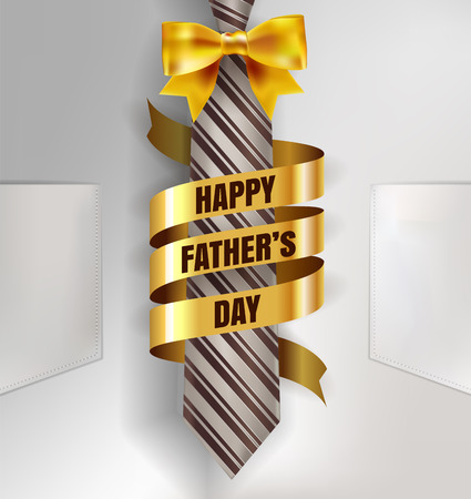 Happy Father's Day background template with man brown tie and white shirt with gold bow and ribbon for promotion banner, ads, flyers, invitation, posters, brochure, discount, sale offers. Vector