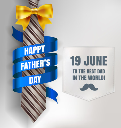 Happy Father's Day background template with man brown tie and white shirt with gold bow and blue ribbon for promotion banner, ads, flyers, invitation, posters, brochure, discount, sale offers. Vector