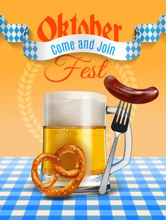 Oktoberfest beer festival poster with realistic beer mug, pretzel and Bavarian sausage on a fork. Illustration