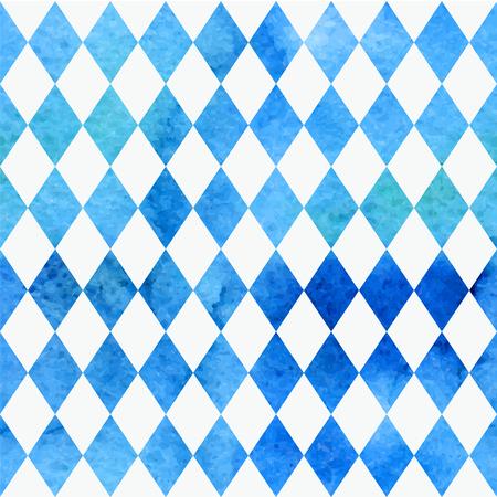 Oktoberfest Bavarian watercolor quarreler traditional blue white beautiful background pattern.