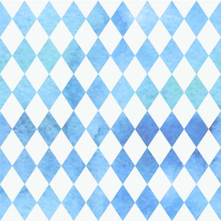 Oktoberfest Bavarian watercolor quarreler traditional blue white beautiful background pattern.