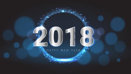 幸せな新しい 2018 年ピカピカ光る青と銀グリーティング カード。ベクトルの図。壁紙。