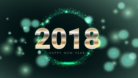 Feliz año nuevo 2018 brillante tarjeta de felicitación brillante verde y oro. Ilustración de Vector de diseño moderno. Papel pintado. Ilustración de vector