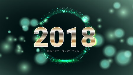 Happy New 2018 Year shiny glowing green and gold greeting card. Modern design Vector illustration. Wallpaper.
