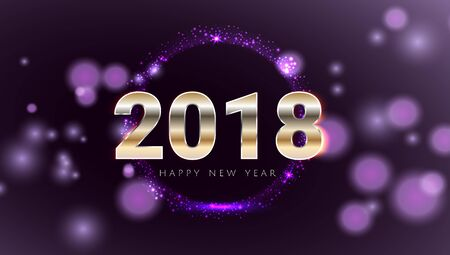 Happy New 2018 Year shiny glowing purple and gold greeting card. Modern night style design Vector illustration. Wallpaper. Illustration
