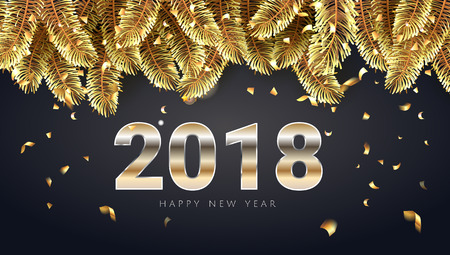 Vector stock illustration 2018 Happy New Year and Merry Christmas greeting card with shining golden text, confetti and christmas tree. Seasonal holidays background