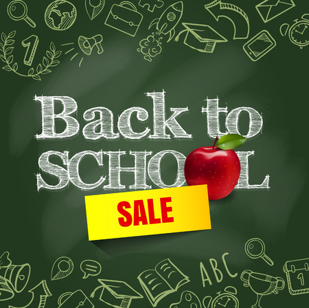 Welcome back to school background, vector illustration. Back to school Back to school supplies design with hand drawn doodle icon school border with realistic apple. Illustration