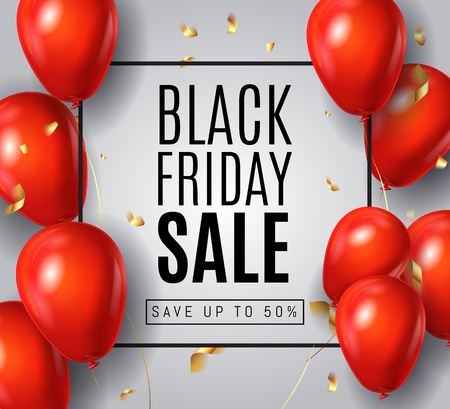 Black Friday Sale Poster with Gloss Shine Red Balloons on White Background with Golden confetti.  Shopping Day sale offer, banner template.  Autumn Shop market poster design. Vector illustration.