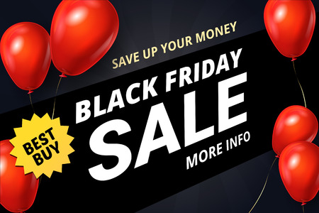 Black Friday Sale Poster with Gloss Shine Red on Balloons Black Background. Shopping Day sale offer, banner template. Autumn Shop market poster design. Vector illustration.