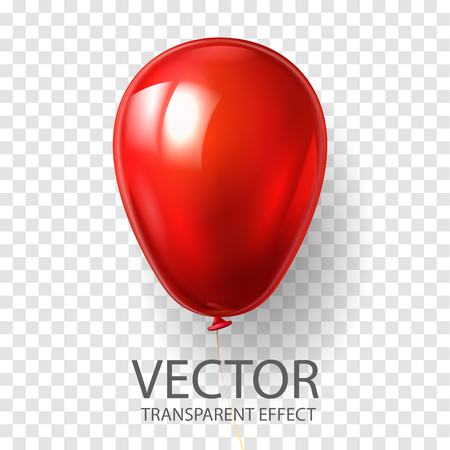 Realistic 3D render red balloon vector stock illustration isolated on transparent background. Glossy shine helium balloon  for Birthday celebration, party, grand opening, sale promotion