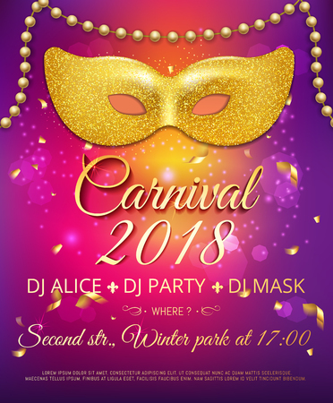 Popular event invitation to Brazil carnival in South America summer holiday. Background with golden sparkly party mask and beads chaplet. Masquerade concept vector illustration. Ilustração