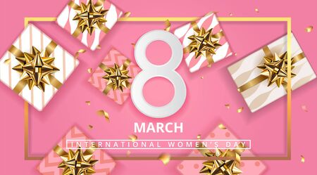Pink Gift box background for March 8, International Womens Day, Birthday , Valentines Day or Mothers day - Top View. Stock Illustratie