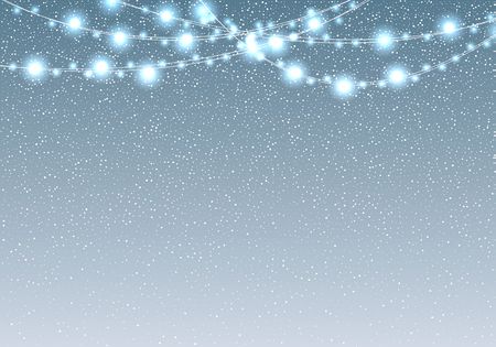 Falling snow with light bulb garland vector illustration. White christmas snowfall on blue background. Winter spray texture.  Holiday Garland in the background of snow-covered sky.