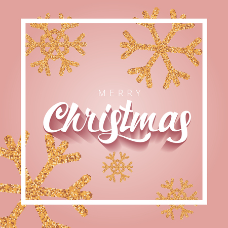Merry Christmas premium luxury  lettering with gold glitter snowflake background. Christmas calligraphy.  Vector design template background for golden shimmer pink soft Xmas card. Vector Illustration