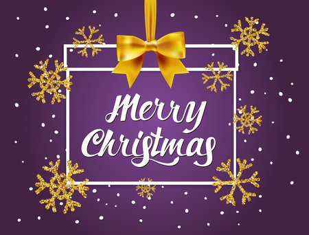 Merry Christmas  lettering card on purple background with christmas gift and Gold glitter texture with snowflakes . Vector design template background for golden shimmer Xmas card. Vector Illustration
