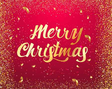 Merry Christmas typographical  lettering card on red background with Gold glitter texture and confetti . Vector illustration for golden shimmer background. Xmas card. Vector Illustration