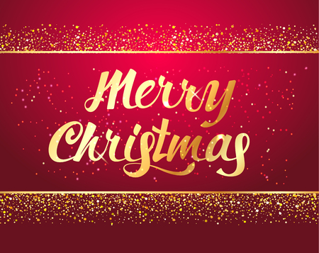 Merry Christmas typographical  hand drawn  lettering card on red background with Gold glitter texture and confetti . Vector illustration for golden shimmer background. Xmas card. Vector Illustration