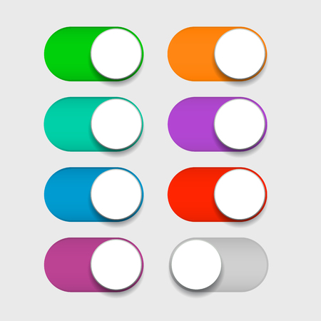 Design mobile Ui interface switch toggle buttons, set sliders in ON position colored green, blue, cyan, purple, red, orange colors and  OFF gray color. Vector illustration. EPS 10 向量圖像