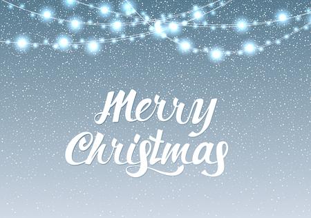 Merry Christmas light bulb garland in winter background Vector Illustration. Lettering Design With light garland And snow. landscape background, snow, banner design template. 版權商用圖片