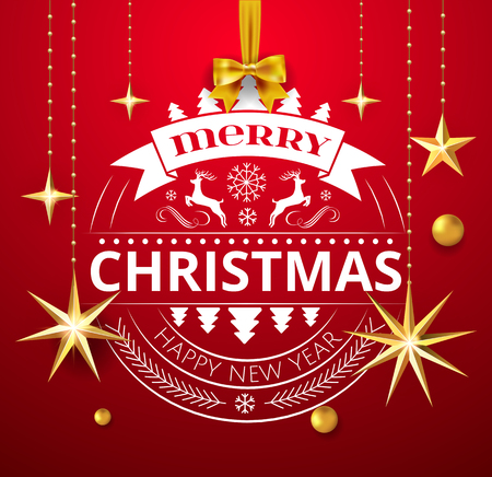 Festive Christmas Luxury Design with Golden Christmas Decorations ball, stars and Merry Christmas and Happy New Year Typography Elements ball ornate in Red Background and bow. Vector Illustration. 版權商用圖片