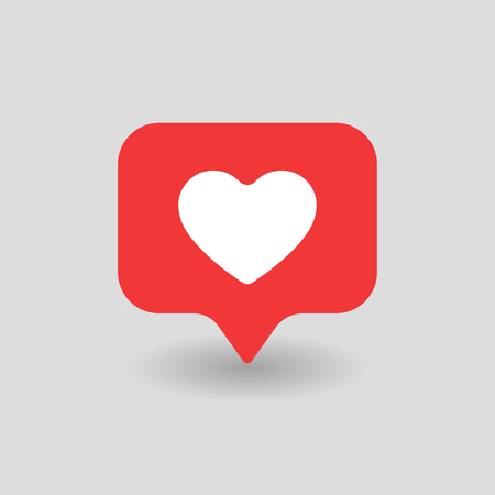 Counter Notification Red Heart UI Icon.heart icon. Social media add 1 like. Vector illustration icon EPS 10. Imagens