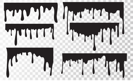 Set  Current black paint, stains.  Black oil liquid dripping.  Stain and blob of paint. Dripping liquid. Splatter and droplet of black liquid isolated in transparent background. Vector illustration