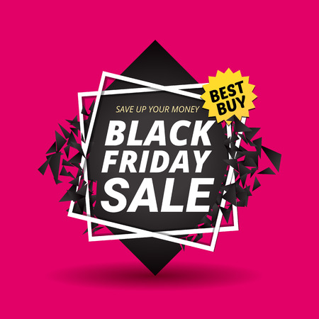 Black Friday Sale Poster Abstract Geometric Background. Vector Banner with  black square destruction explosion effect in pink background. Shopping Day sale offer, banner template. Shop market design.