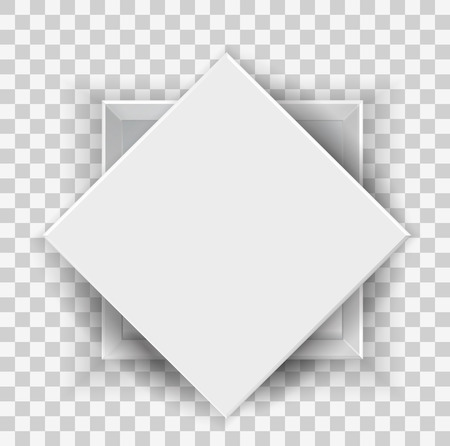 White opened empty box  with cover top and front view 3D cube isolated on transparent background for your design and logo. Realistic blank Package Cardboard Box For Software, device product. Vector