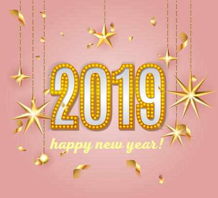 2019  happy new year lettering  luxury premium light bulb text template with golden Christmas stars and confetti in pink elegant background. Happy New Year card design. Vector illustration EPS 10