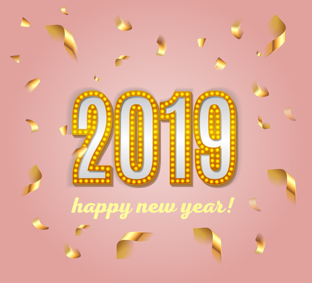 2019  happy new year lettering  luxury premium light bulb text template with golden confetti in pink elegant background. Happy New Year card design. Vector illustration EPS 10
