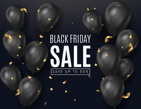 Black friday sale ads with Black Balloons in Black Background with Golden confetti  serpentine .  Shopping Day sale offer, banner template.  Autumn Shop market poster design. Vector illustration