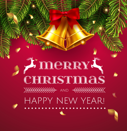 Vector Christmas greetings and  decoration objects on red background. Jingle bells holidays postcard. Merry Christmas and Happy New Year. Elements are layered separately in vector file.
