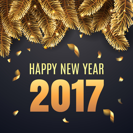 Happy New Year 2017 banner with golden  fir-tree branches and confetti and shining lights.  Rich, VIP, luxury Gold and black colors. Vector illustration