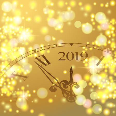 Golden shiny bokeh New Year 2019 luxury premium light template with golden poster with clock and lights. Vector background. 2019  lettering. Happy New Year card design. Vector illustration EPS 10 file 向量圖像