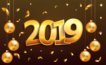 2019 Happy new Year  lettering  luxury premium brown template with golden Christmas ball in sparkling background. Happy New Year card design. Vector illustration EPS 10 file.