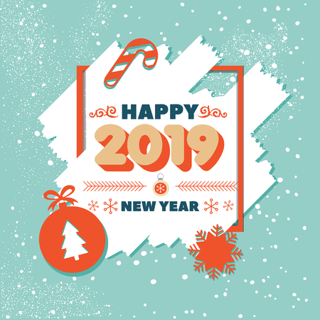 Greeting card blue 2019 with frame on Christmas theme and inscription Happy New Year. Christmas background with ball, christmas tree,  candy. Vintage banner for Happy New Year . Vector Illustration 向量圖像