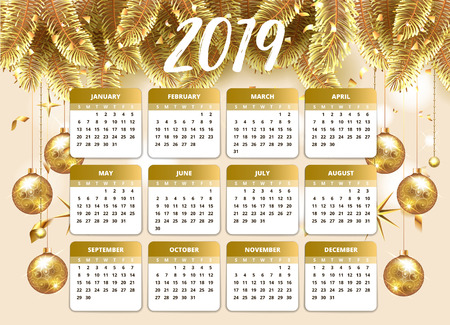 2019 Happy new year design wallpaper with calendar planner. Gold and pink color with Christmas tree celebrate background with golden balls, confetti and stars. Vector stock illustration for January. 向量圖像