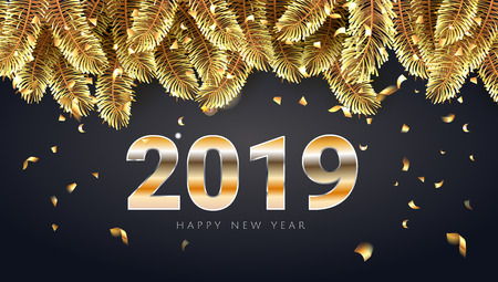 2019 Happy new Year  golden lettering  luxury premium brown template with golden Christmas fir tree branches in black sparkling confetti background. Happy New Year card design. Vector illustration EPS