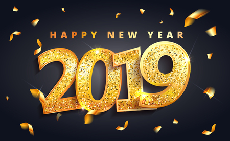 2019 Happy new Year  lettering  luxury premium black template with golden Christmas ball in sparkling background. Happy New Year card design. Vector illustration EPS 10 file. 向量圖像