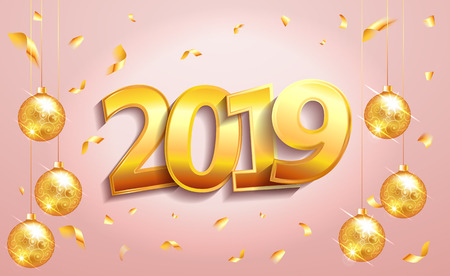 2019  happy new year lettering  luxury premium text template with golden confetti and christmas ball in pink elegant background. Happy New Year card design. Vector illustration EPS 10