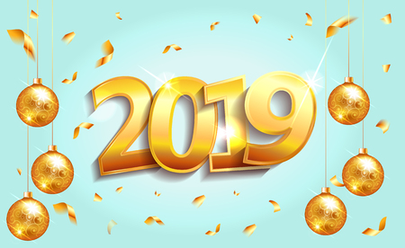 2019 Happy new Year  greeting card lettering  luxury premium blue template with golden Christmas ball in sparkling background. Happy New Year card design. Vector illustration EPS 10 file. 向量圖像