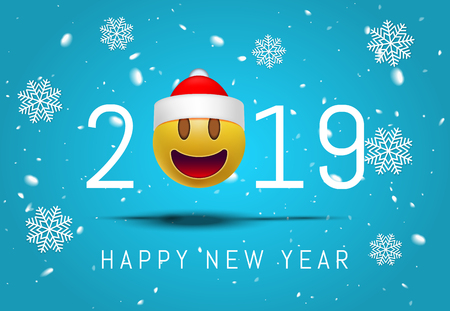 Greeting card for 2019 new year with smiling emoji santa face in glasses on pink background. 3d Smiley Emoticon modern design for social network, Color concept for conversations, online, web. Vector