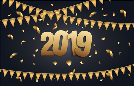 Happy New Year 2019 background with black and gold color, flags garland and confetti. Greeting card design celebration. Vector illustration