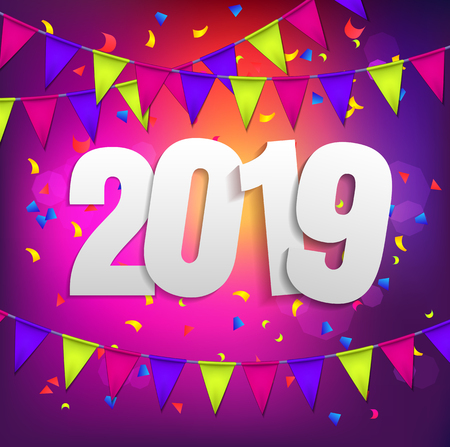 Happy New Year 2019 violet background with coljred flags garland and confetti. Greeting card design celebration. Vector illustration